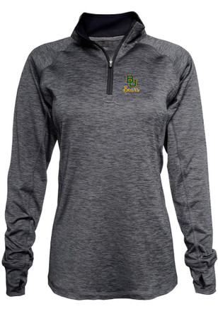 Baylor Womens Space Dye Black 1/4 Zip Performance Pullover