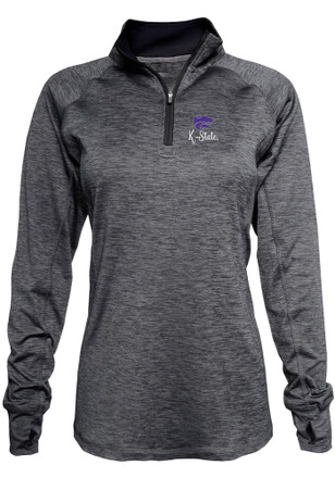 K-State Wildcats Womens Space Dye Black 1/4 Zip Performance Pullover