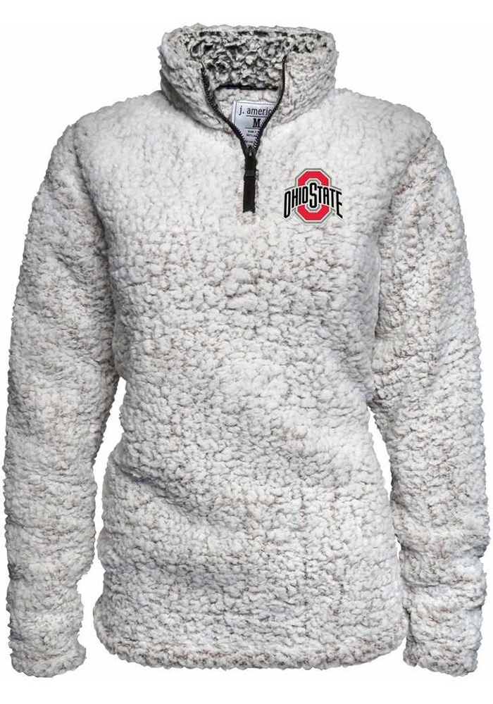 new arrivals bfc13 9aef3 Ohio State Buckeyes Womens White Sherpa 1 4 Zip Pullover - Image 1