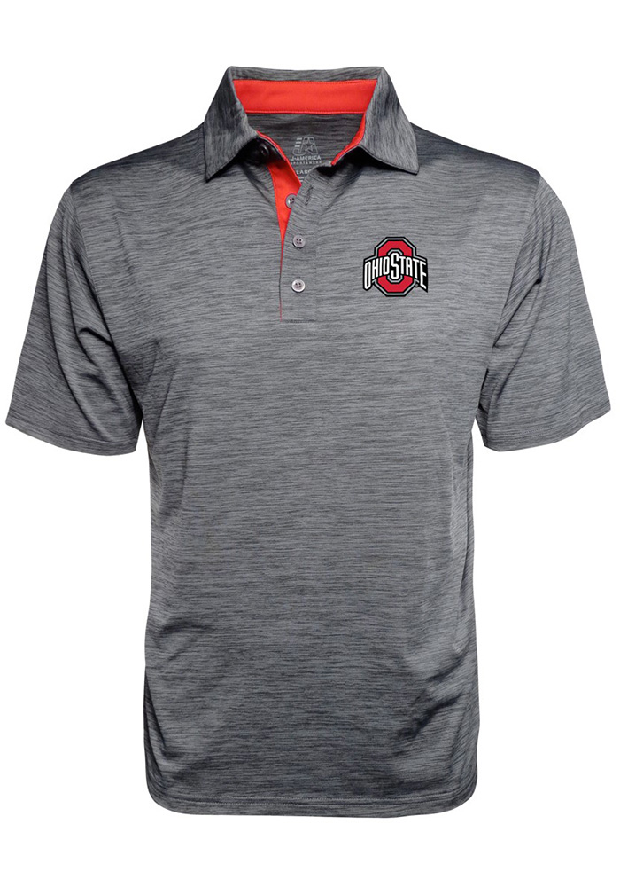 Ohio State Buckeyes Mens Grey Space Dyed Short Sleeve Polo - Image 1
