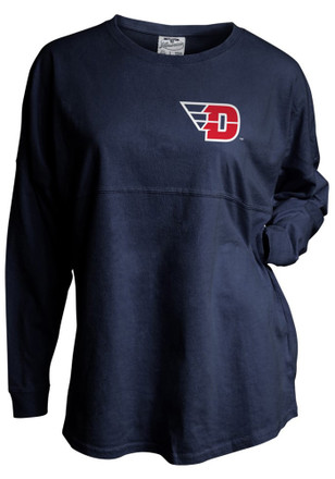 Dayton Flyers Womens Gameday Navy Blue LS Tee