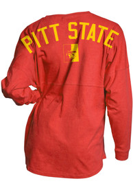 Pitt State Gorillas Womens Mascot Back Red LS Tee