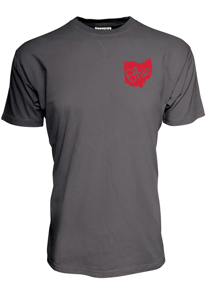 Ohio State Buckeyes Grey Vintage State Short Sleeve Fashion T Shirt - Image 1