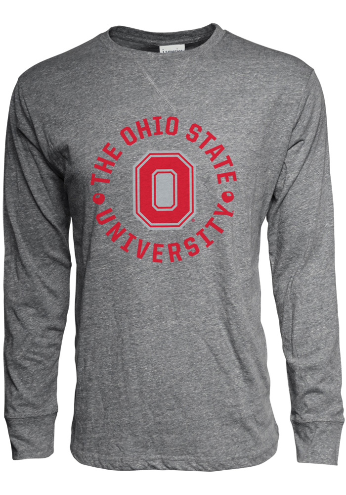 Ohio State Buckeyes Grey Vintage Slub Long Sleeve Fashion T Shirt - Image 1