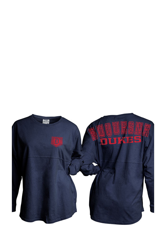 Duquesne Dukes Womens Navy Blue Gameday LS Tee - Image 1