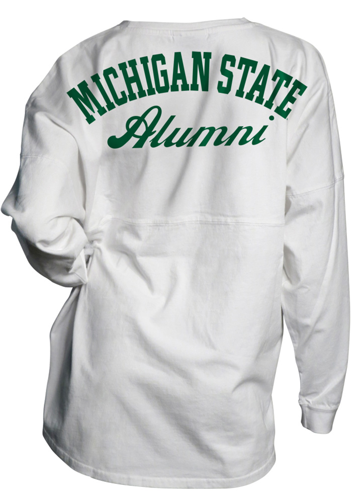 Michigan State Spartans Womens White Gameday Jersey LS Tee - Image 2