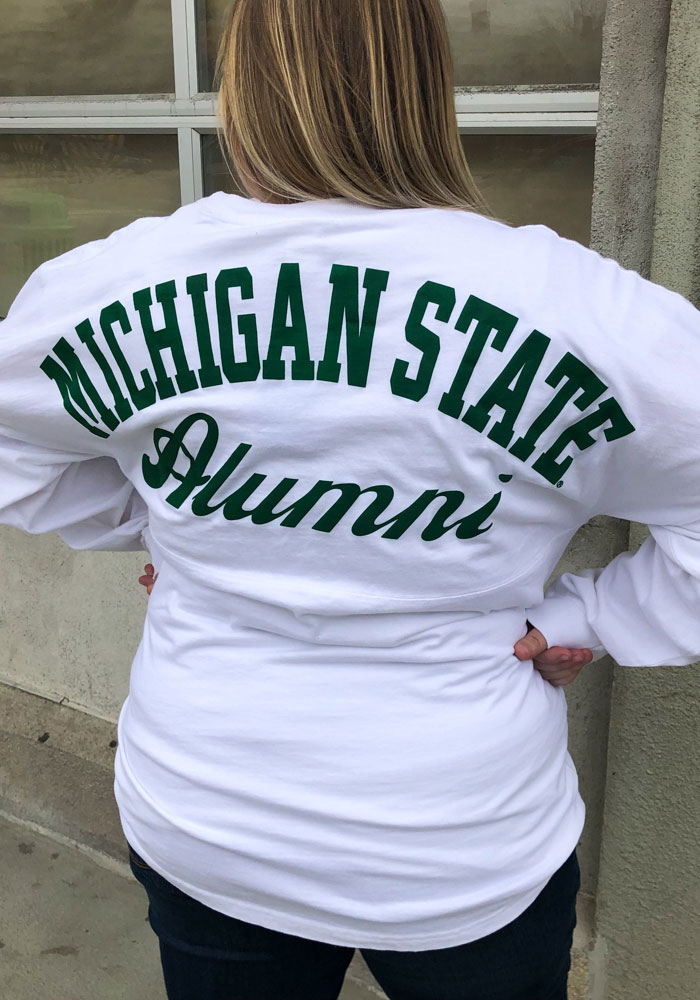 Michigan State Spartans Womens White Gameday Jersey LS Tee - Image 4