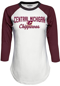 Top of the World Central Michigan Chippewas Womens Contrast Raglan Crew Neck White LS Tee