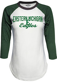 Top of the World Eastern Michigan Eagles Womens Contrast Raglan Crew Neck White LS Tee