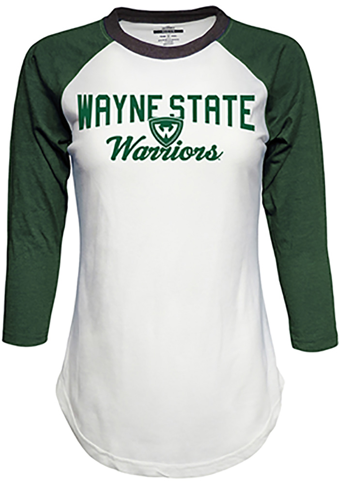 Top of the World Wayne State Warriors Womens White Contrast Raglan Crew Neck LS Tee - Image 1