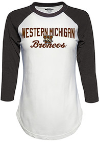500be5e8098 Top of the World Western Michigan Broncos Womens Contrast Raglan Crew Neck  White LS Tee