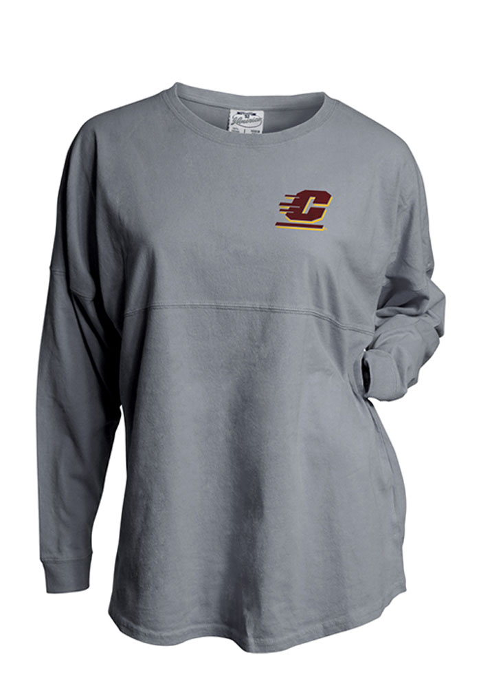 Central Michigan Chippewas Womens Grey Game Day Jersey LS Tee, Grey, 100% COTTON, Size XL