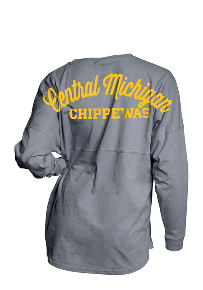 Central Michigan Chippewas Womens Grey Game Day Jersey LS Tee - Image 2