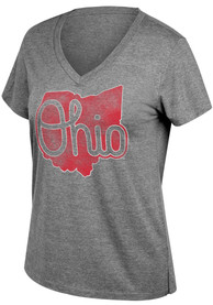new product 4724e 176c4 Ohio State Buckeyes Womens Grey Boyfriend State Shape T-Shirt
