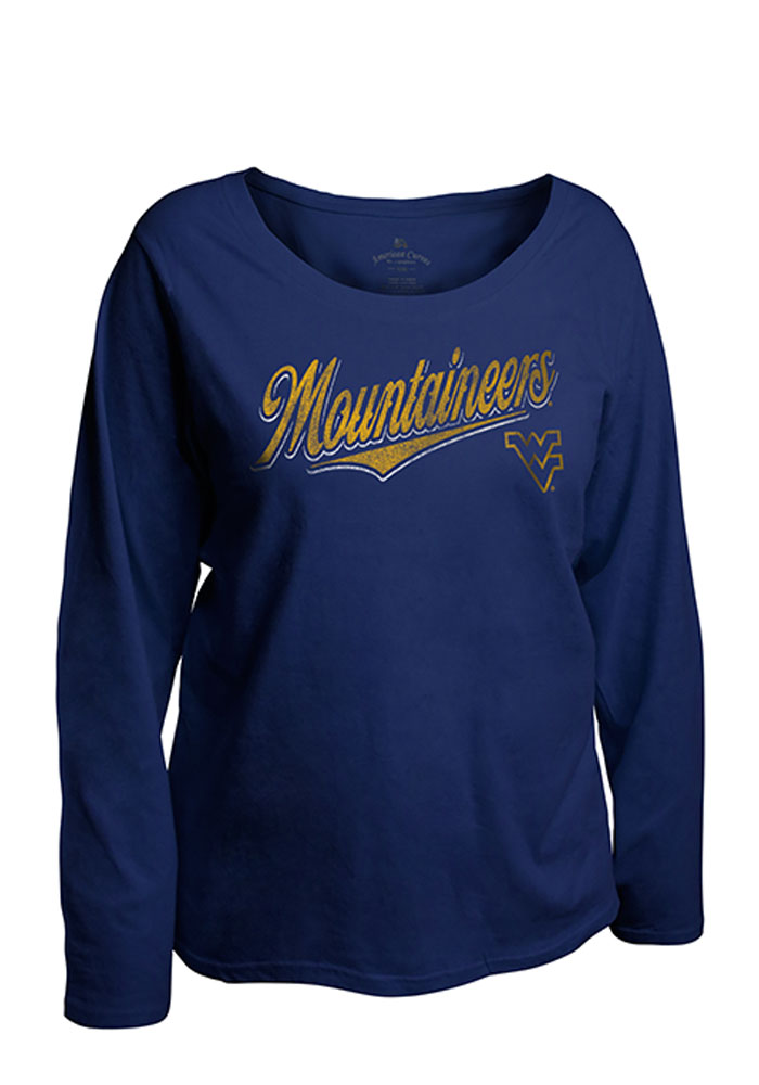 West Virginia Mountaineers Womens Navy Blue Curves Long Sleeve Plus Size T-Shirt - Image 1