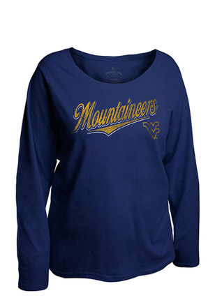 West Virginia Mountaineers Womens Curves Navy Blue Plus Size T-Shirt