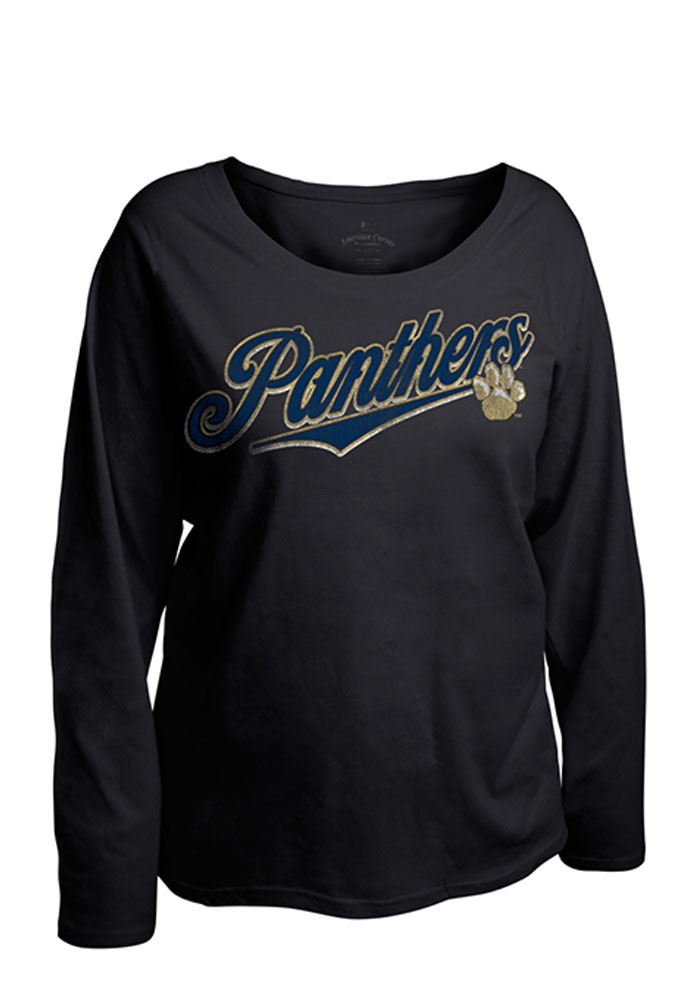 Pitt Panthers Womens Navy Blue Curves Long Sleeve Plus Size T-Shirt - Image 1