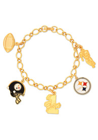 Pittsburgh Steelers Womens 5 Charm Bracelet - Gold