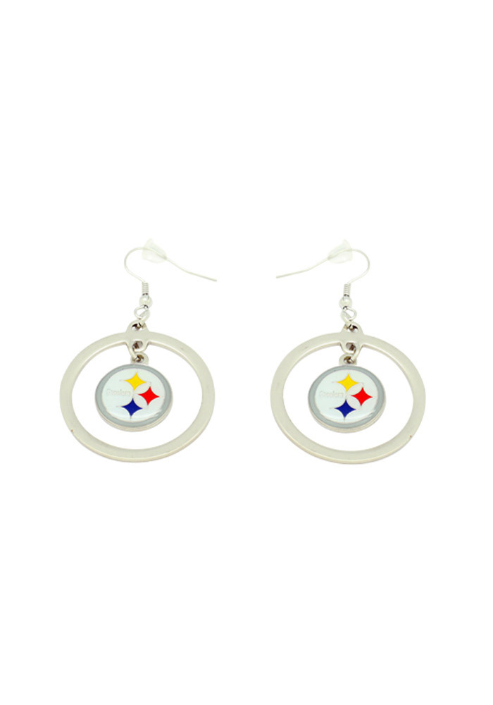 Pittsburgh Steelers Womens Floating Hoop Earrings - White