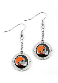 Cleveland Browns Womens Round Crystal Earrings - Silver