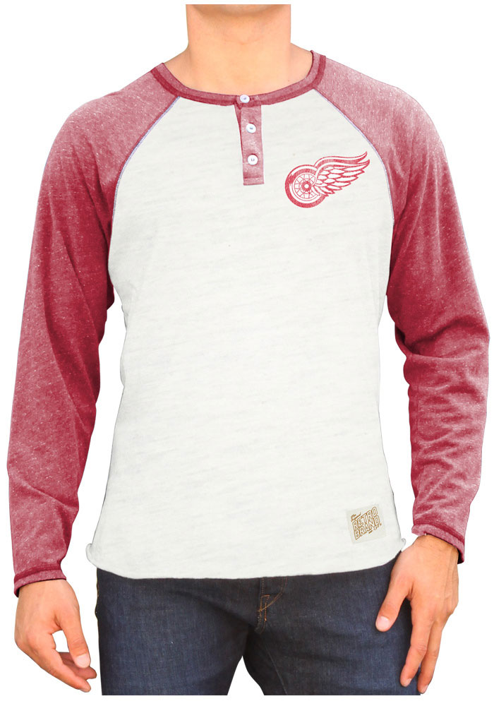 Original Retro Brand Detroit Red Wings White Triblend Raglan Henley Long Sleeve Tee - Image 1