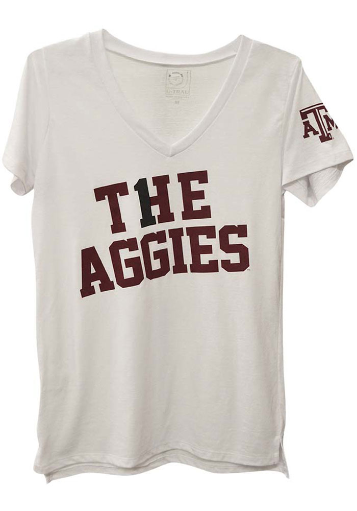Texas A&M Aggies Juniors White Famous V-Neck