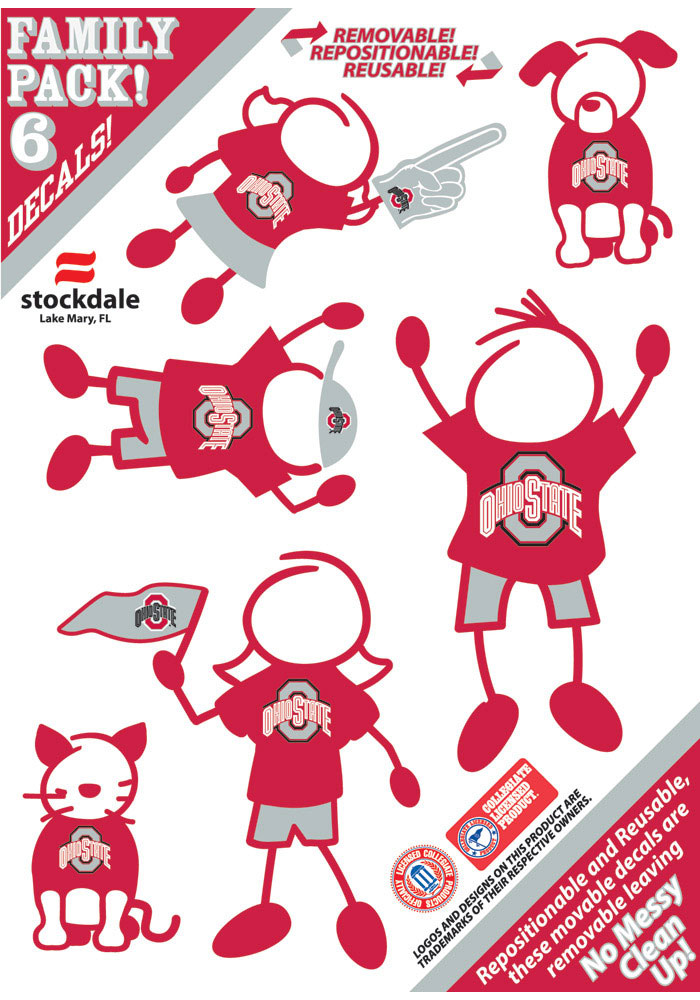 Ohio State Buckeyes 5x7 Family Pack Decal - Image 1
