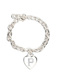 Pittsburgh Pirates Womens Heart Charm Bracelet - Silver