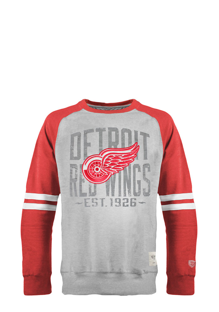 Detroit Red Wings Mens Grey Cruise Long Sleeve Fashion Sweatshirt - Image 1