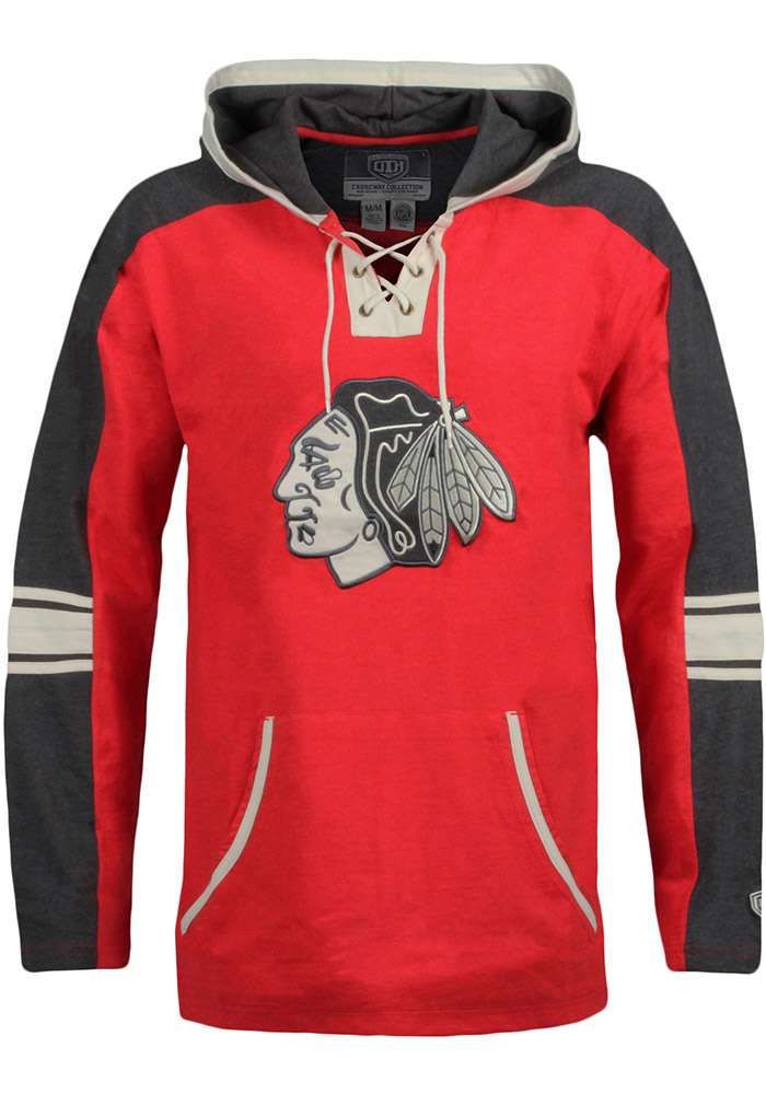 Chicago Blackhawks Mens Red Cable Fashion Hood - Image 1