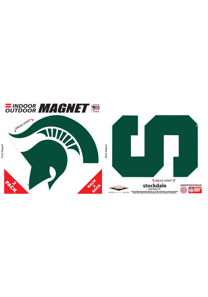 Michigan State Spartans 6x6 2pk Car Magnet - Green - Image 1