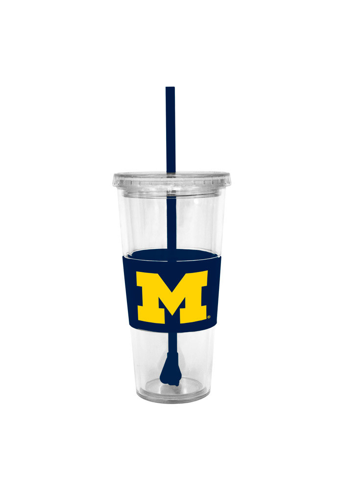 Michigan Wolverines 22oz Clear Straw Tumbler - Image 1