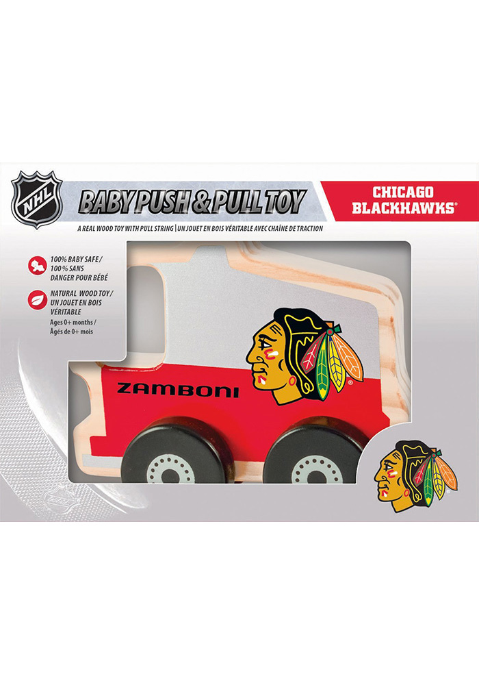 Chicago Blackhawks Push & Pull Wooden Car - Image 1