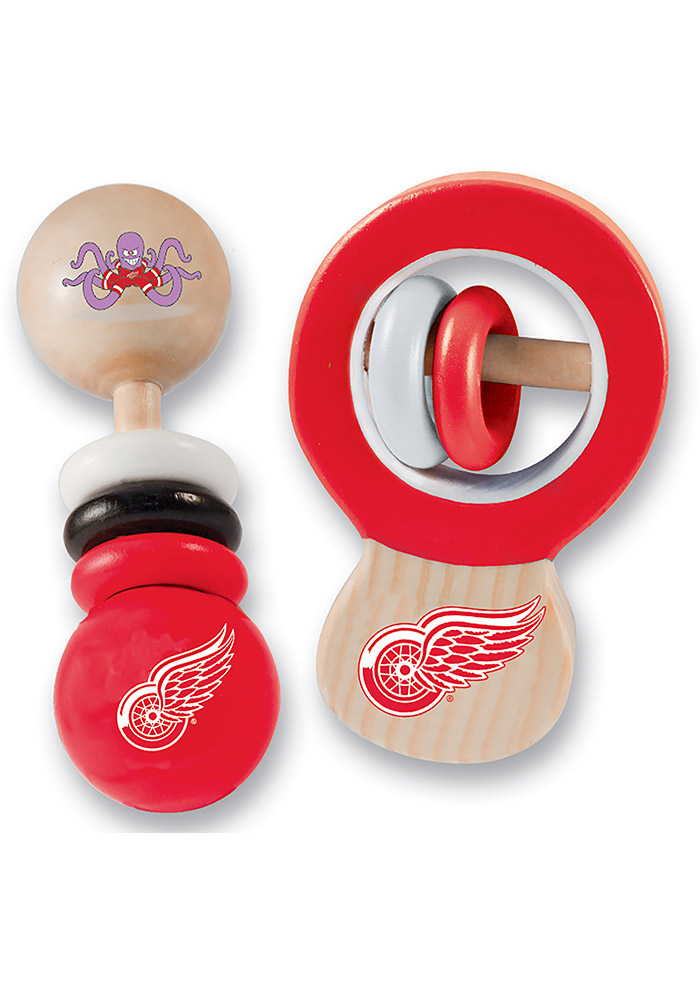 Detroit Red Wings Team Logo Set Baby Rattle - Image 1