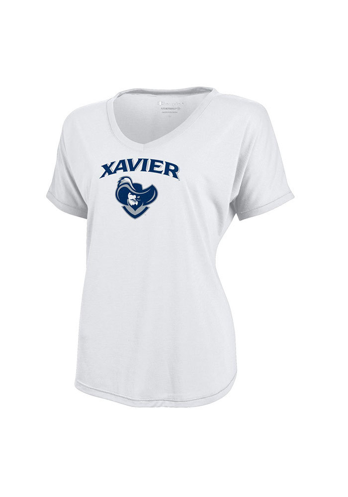 Xavier Musketeers Juniors White Eco Showtime V-Neck T-Shirt - Image 1
