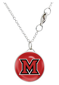 Miami RedHawks Womens Single Drop Necklace - Red