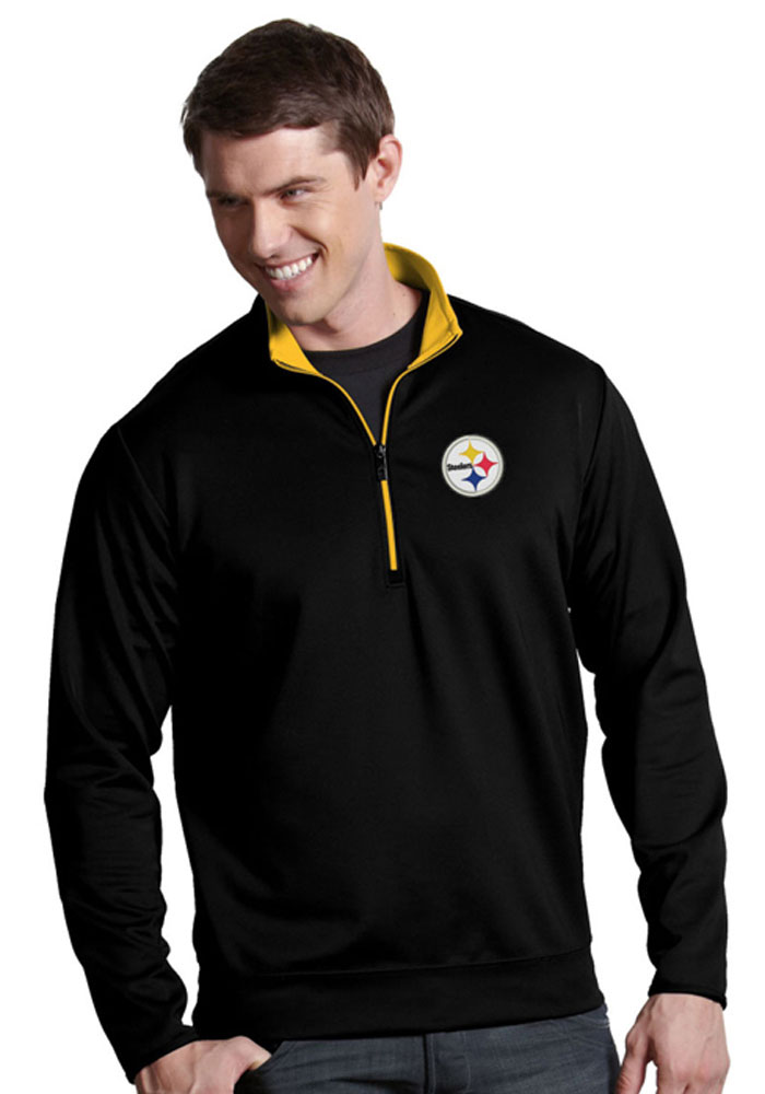 Antigua Pittsburgh Steelers Mens Black Leader Long Sleeve 1/4 Zip Pullover, Black, 93% POLYESTER / 7% SPANDEX, Size L