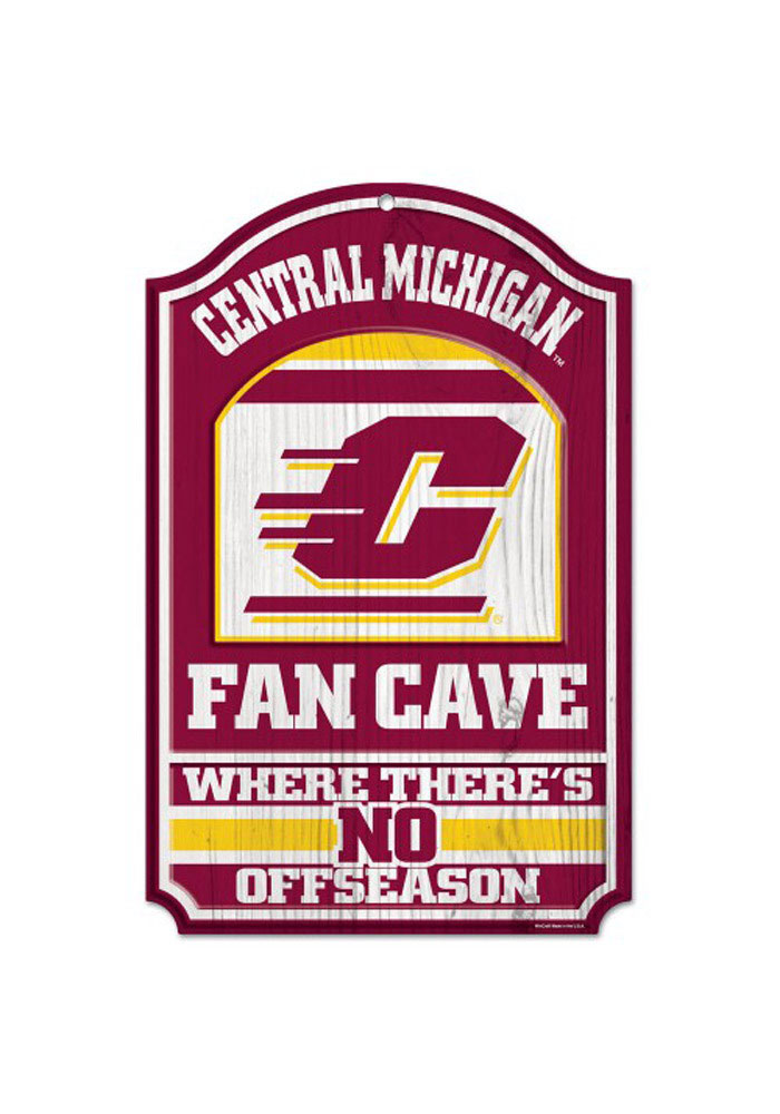 Central Michigan Chippewas 11X17 Fan Cave Wood Sign - Image 1
