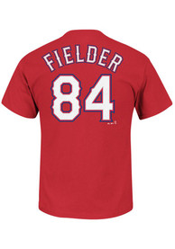 Prince Fielder Texas Rangers Red Name and Number Player Tee