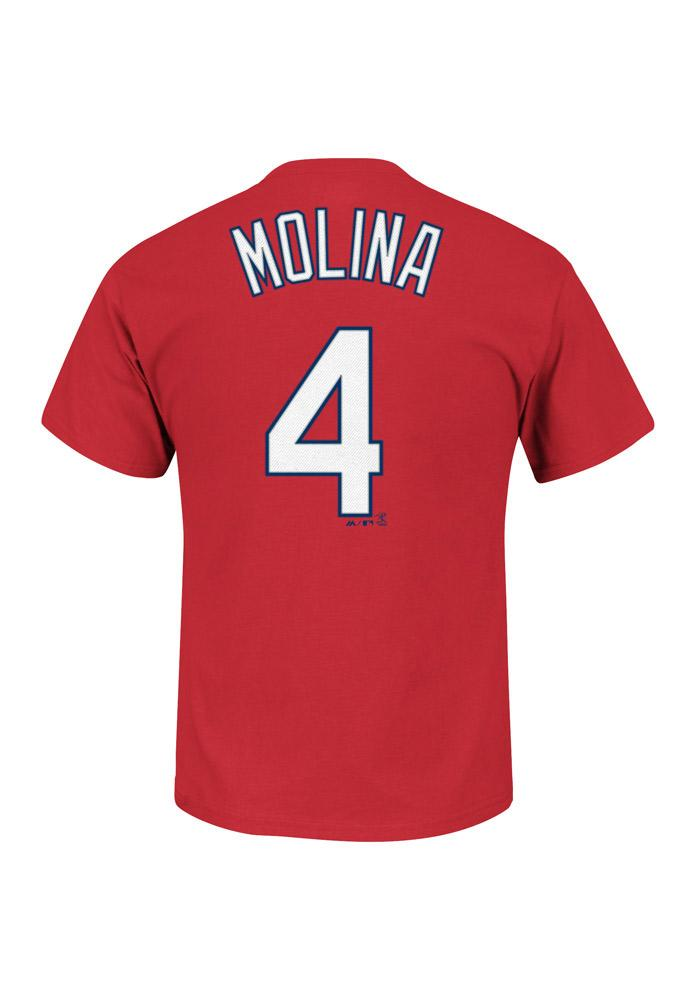 Yadier Molina St Louis Cardinals Red Name and Number Short Sleeve Player T Shirt - Image 1