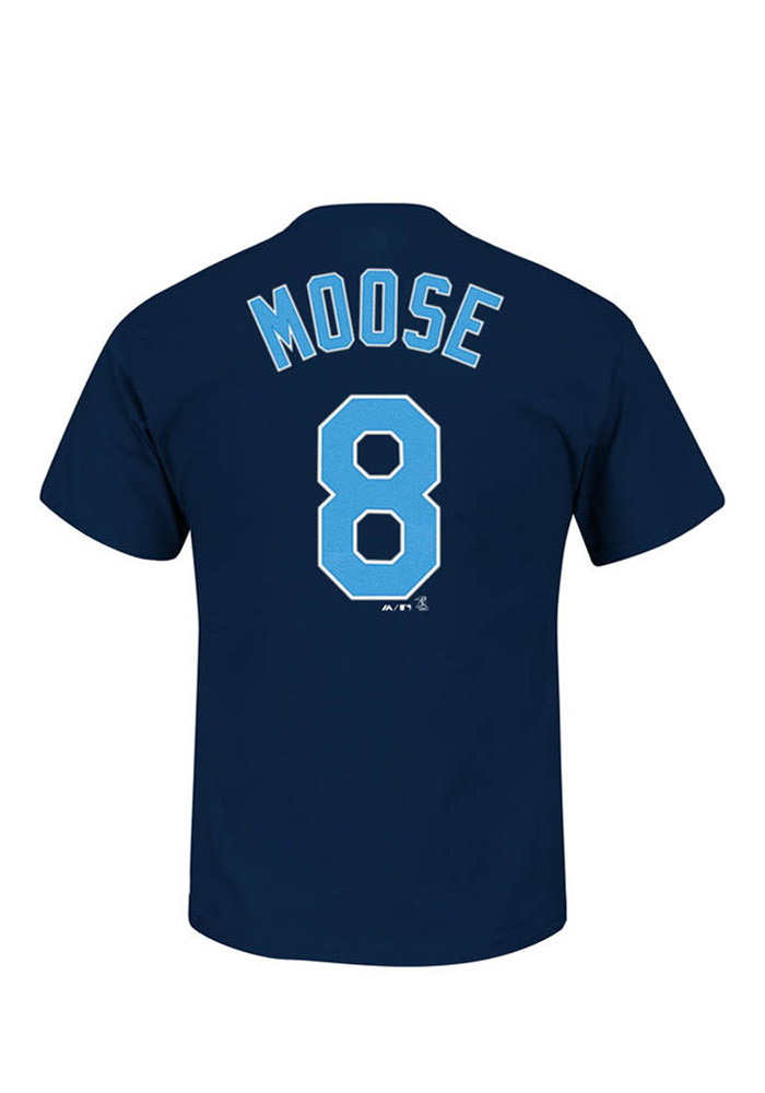 Mike Moustakas Kansas City Royals Mens Navy Blue `Moose` Short Sleeve Player T Shirt - Image 1