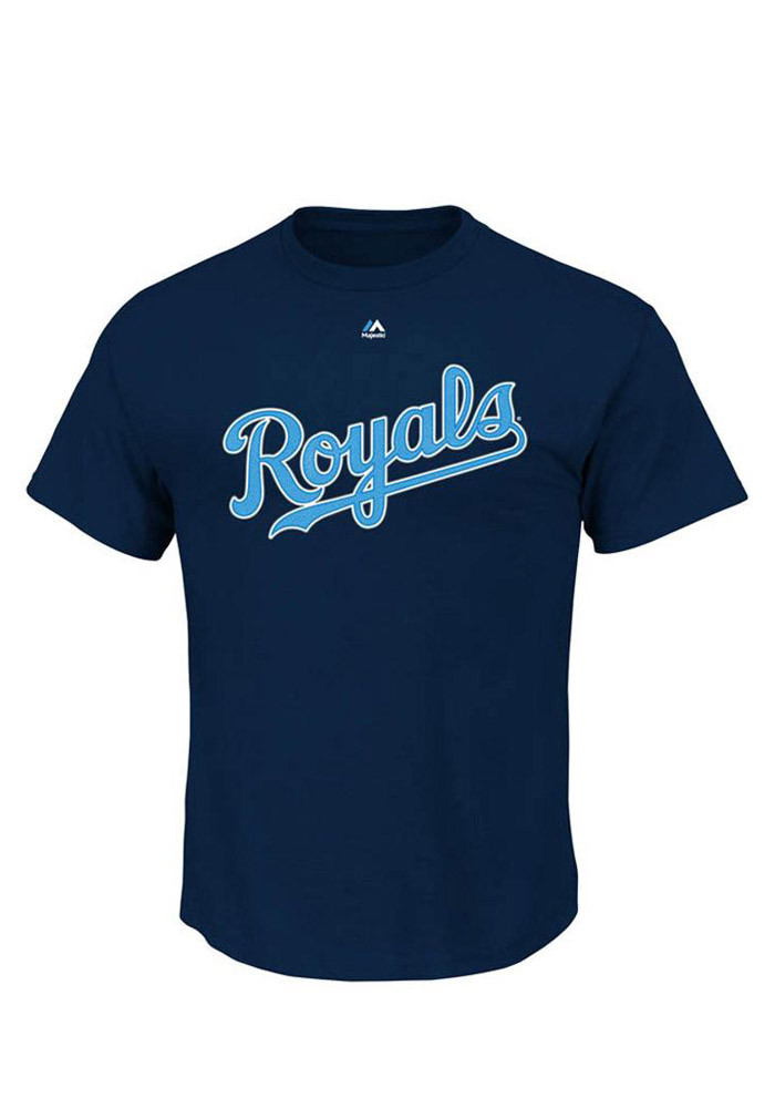 Mike Moustakas Kansas City Royals Mens Navy Blue `Moose` Short Sleeve Player T Shirt - Image 2