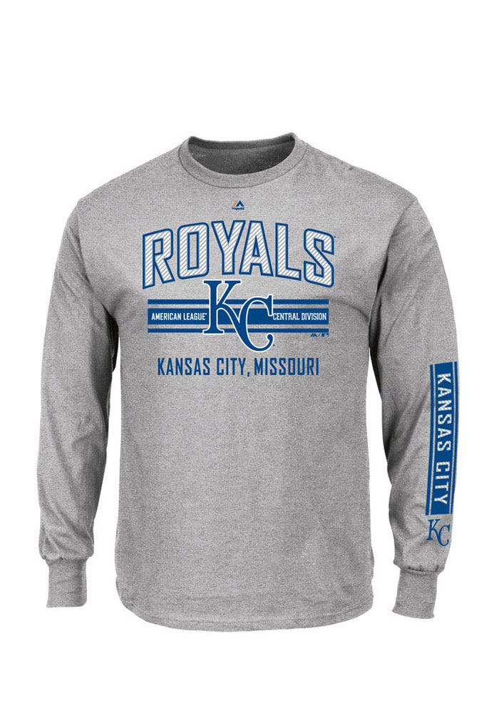 Majestic Kansas City Royals Mens Grey 1st to 3rd Long Sleeve T Shirt - Image 1