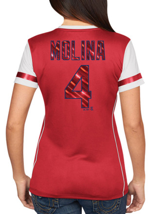 Yadier Molina St Louis Cardinals Womens Player Tee Fashion Baseball Jersey - Red