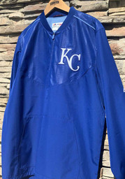Kansas City Royals Majestic On-Field Cool Base Gamer 1/4 Zip Pullover - Blue