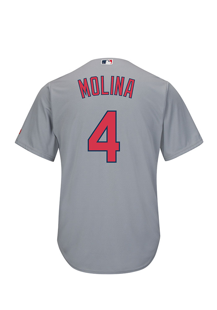Yadier Molina St Louis Cardinals Mens Replica Cool Base Jersey Jersey - Grey - Image 1