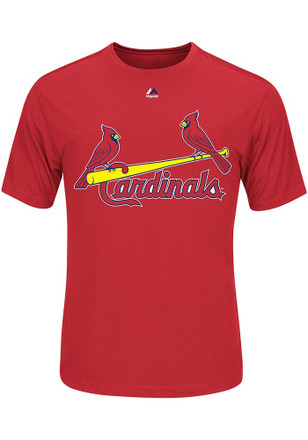 Majestic St Louis Cardinals Mens Red Wordmark Performance Tee