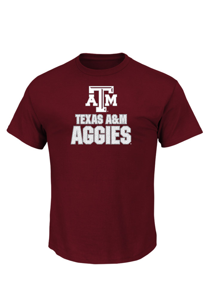 Majestic Texas A&M Aggies Mens Maroon Momentous Short Sleeve T Shirt - Image 1