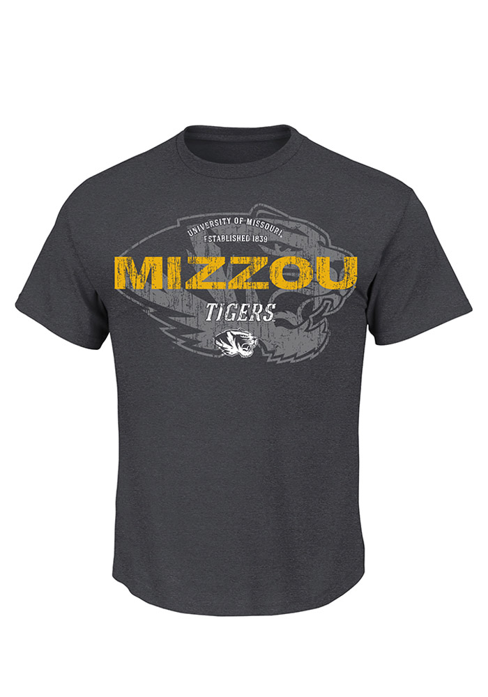 Majestic Missouri Tigers Mens Grey Ours to Win Short Sleeve T Shirt - Image 1