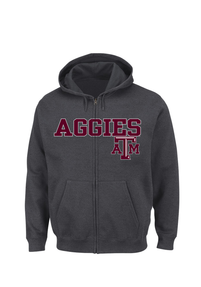 Majestic Texas A&M Aggies Mens Charcoal Go-To Move Long Sleeve Full Zip Jacket - Image 1